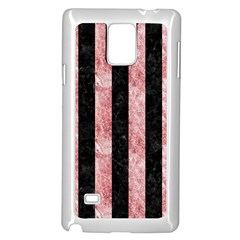 Stripes1 Black Marble & Red & White Marble Samsung Galaxy Note 4 Case (white) by trendistuff