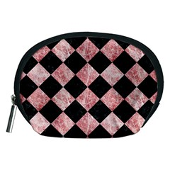 Square2 Black Marble & Red & White Marble Accessory Pouch (medium) by trendistuff
