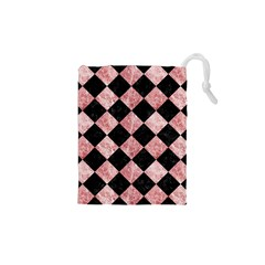 Square2 Black Marble & Red & White Marble Drawstring Pouch (xs) by trendistuff