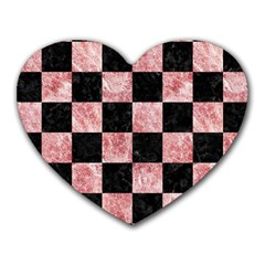 Square1 Black Marble & Red & White Marble Heart Mousepad by trendistuff