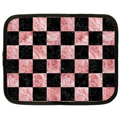 Square1 Black Marble & Red & White Marble Netbook Case (xl) by trendistuff