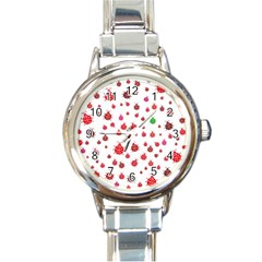 Beetle Animals Red Green Fly Round Italian Charm Watch by Amaryn4rt