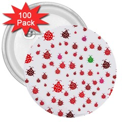 Beetle Animals Red Green Fly 3  Buttons (100 Pack)