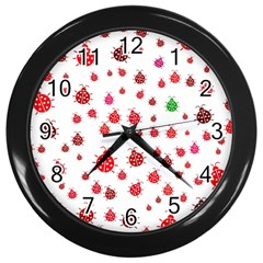 Beetle Animals Red Green Fly Wall Clocks (black) by Amaryn4rt