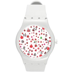Beetle Animals Red Green Fly Round Plastic Sport Watch (m) by Amaryn4rt