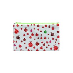 Beetle Animals Red Green Fly Cosmetic Bag (xs)