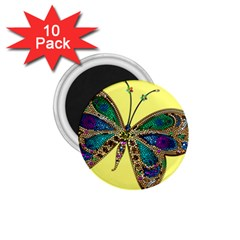 Butterfly Mosaic Yellow Colorful 1 75  Magnets (10 Pack)  by Amaryn4rt