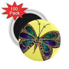 Butterfly Mosaic Yellow Colorful 2 25  Magnets (100 Pack)  by Amaryn4rt