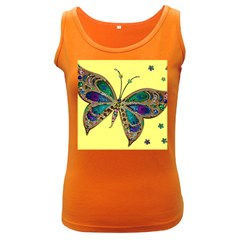 Butterfly Mosaic Yellow Colorful Women s Dark Tank Top by Amaryn4rt
