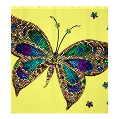 Butterfly Mosaic Yellow Colorful Shower Curtain 66  X 72  (large)  by Amaryn4rt