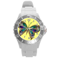 Butterfly Mosaic Yellow Colorful Round Plastic Sport Watch (l) by Amaryn4rt
