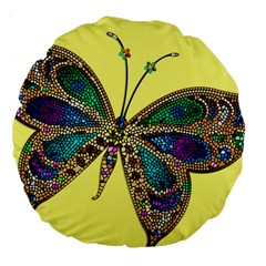 Butterfly Mosaic Yellow Colorful Large 18  Premium Round Cushions by Amaryn4rt