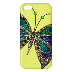 Butterfly Mosaic Yellow Colorful Apple Iphone 5 Premium Hardshell Case by Amaryn4rt