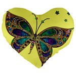 Butterfly Mosaic Yellow Colorful Large 19  Premium Flano Heart Shape Cushions Front