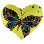 Butterfly Mosaic Yellow Colorful Large 19  Premium Flano Heart Shape Cushions Back
