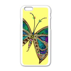 Butterfly Mosaic Yellow Colorful Apple Iphone 6/6s White Enamel Case by Amaryn4rt