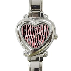 Skin4 Black Marble & Red & White Marble Heart Italian Charm Watch by trendistuff