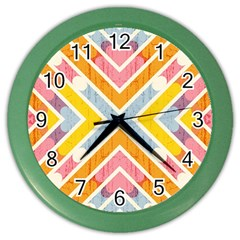 Line Pattern Cross Print Repeat Color Wall Clocks by Amaryn4rt