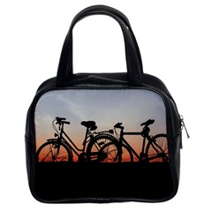 Bicycles Wheel Sunset Love Romance Classic Handbags (2 Sides) by Amaryn4rt