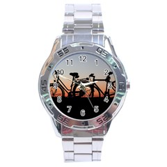 Bicycles Wheel Sunset Love Romance Stainless Steel Analogue Watch by Amaryn4rt