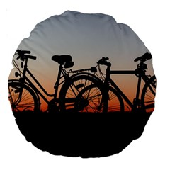 Bicycles Wheel Sunset Love Romance Large 18  Premium Round Cushions by Amaryn4rt