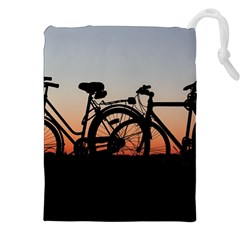 Bicycles Wheel Sunset Love Romance Drawstring Pouches (xxl) by Amaryn4rt