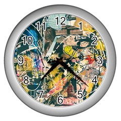 Art Graffiti Abstract Vintage Lines Wall Clocks (silver)  by Amaryn4rt