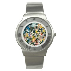 Art Graffiti Abstract Vintage Lines Stainless Steel Watch