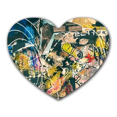 Art Graffiti Abstract Vintage Lines Heart Mousepads
