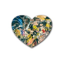 Art Graffiti Abstract Vintage Lines Heart Coaster (4 Pack)  by Amaryn4rt