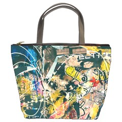 Art Graffiti Abstract Vintage Lines Bucket Bags by Amaryn4rt