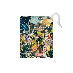 Art Graffiti Abstract Vintage Lines Drawstring Pouches (small)  by Amaryn4rt
