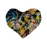 Art Graffiti Abstract Vintage Lines Standard 16  Premium Flano Heart Shape Cushions Back