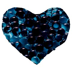 Blue Abstract Balls Spheres Large 19  Premium Heart Shape Cushions