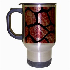 Skin1 Black Marble & Red & White Marble Travel Mug (silver Gray) by trendistuff
