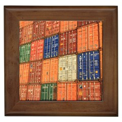 Blue White Orange And Brown Container Van Framed Tiles by Amaryn4rt