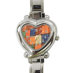 Blue White Orange And Brown Container Van Heart Italian Charm Watch