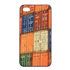 Blue White Orange And Brown Container Van Apple Iphone 4/4s Seamless Case (black)