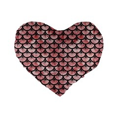 Scales3 Black Marble & Red & White Marble (r) Standard 16  Premium Flano Heart Shape Cushion  by trendistuff