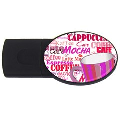 Coffee Cup Lettering Coffee Cup Usb Flash Drive Oval (2 Gb)