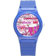 Coffee Cup Lettering Coffee Cup Round Plastic Sport Watch (s) by Amaryn4rt