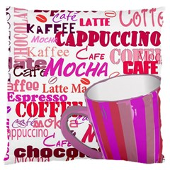 Coffee Cup Lettering Coffee Cup Large Cushion Case (one Side) by Amaryn4rt