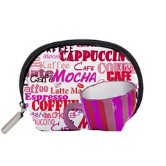 Coffee Cup Lettering Coffee Cup Accessory Pouches (small)  by Amaryn4rt