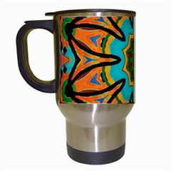 Color Abstract Pattern Structure Travel Mugs (white) by Amaryn4rt