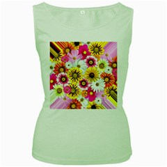 Flowers Blossom Bloom Nature Plant Women s Green Tank Top by Amaryn4rt