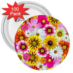 Flowers Blossom Bloom Nature Plant 3  Buttons (100 Pack)  by Amaryn4rt