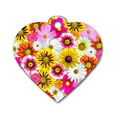 Flowers Blossom Bloom Nature Plant Dog Tag Heart (two Sides) by Amaryn4rt