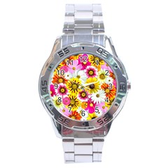 Flowers Blossom Bloom Nature Plant Stainless Steel Analogue Watch by Amaryn4rt