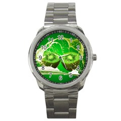 Kiwi Fruit Vitamins Healthy Cut Sport Metal Watch by Amaryn4rt
