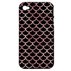 Scales1 Black Marble & Red & White Marble Apple Iphone 4/4s Hardshell Case (pc+silicone) by trendistuff